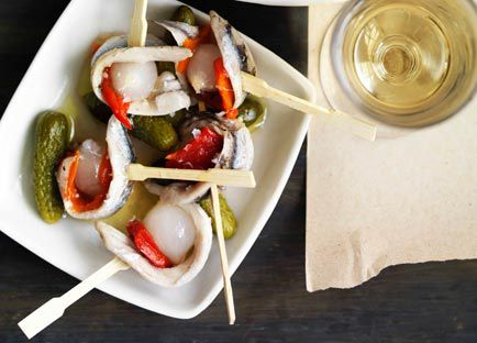 Anchovy, onion, gherkin and pepper pinchos