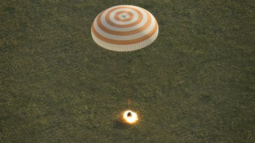 The Soyuz TMA-15M spacecraft as it lands near the town of Zhezkazgan in Kazakhstan. (NASA)