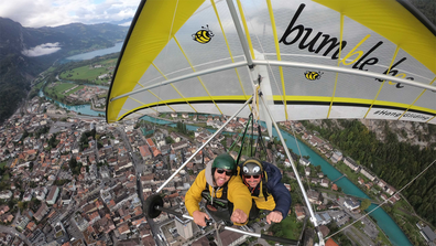 Return to the skies: Just under a year since a hang gliding experience that went horribly wrong, American Chris Gursky embarked on a second, more successful flight.
