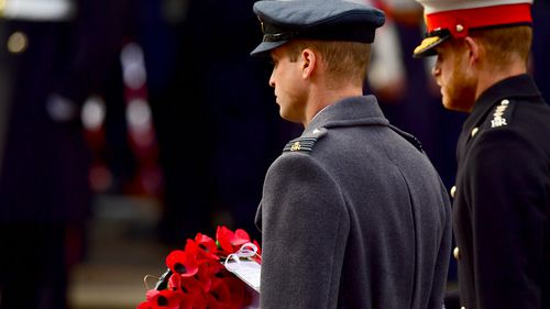 The Duke of Cambridge and the Duke of Sussex during the remembrance service at the Cenotaph memorial in Whitehall, central London, on the 100th anniversary of the signing of the Armistice.