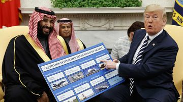 Mohammed bin Salman and Donald Trump in the White House.