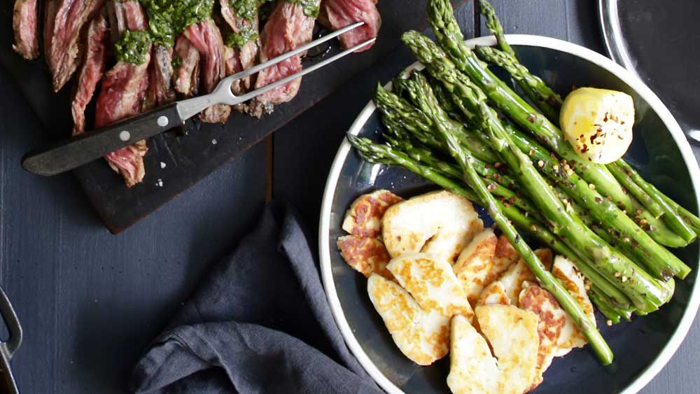 Jacqueline Alwill's grilled asparagus with haloumi and lime recipe for BeefandLamb.com.au