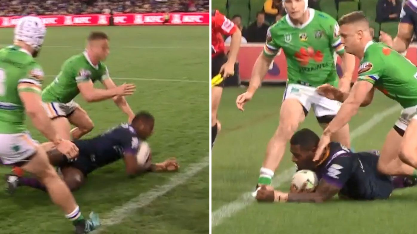 'His hand is probably a centimetre in': Billy Slater laments touchie's late call in Storm loss