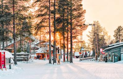 Sunset at Santa Claus Village, Lapland