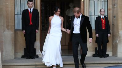 Prince Harry and Meghan Markle leave their wedding breakfast at Windsor Castle for their private evening reception