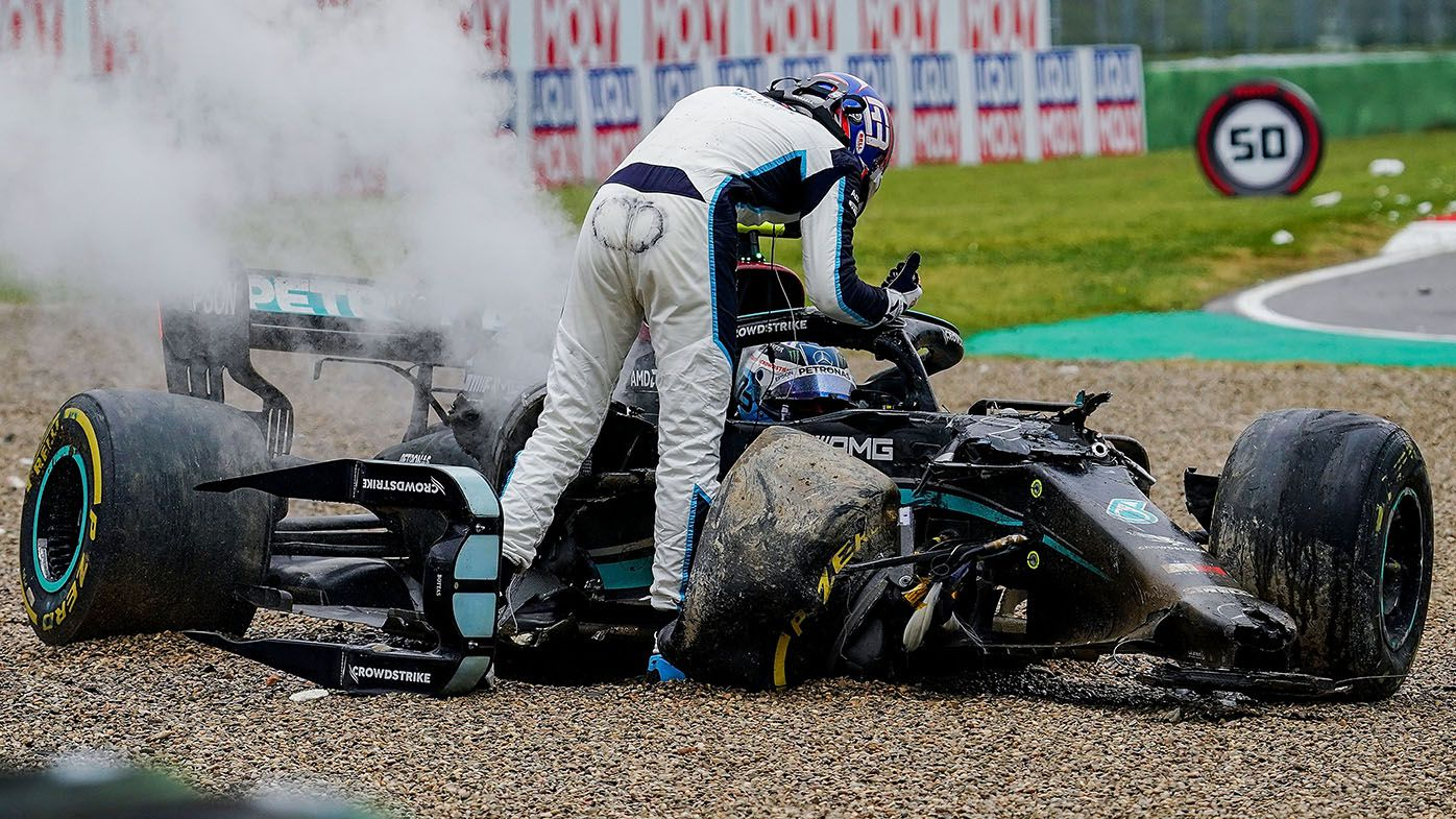George Russell apologises for crash with Valtteri Bottas at F1 Emilia Romagna GP