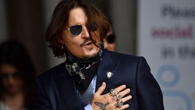 Johnny Depp arrives at the Royal Courts of Justice, the Strand on July 24, 2020 in London, England