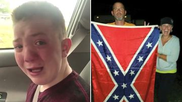 Mother of viral bullied boy revealed to be flag-waving confederate