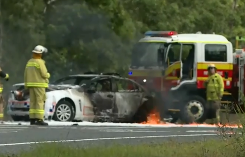 The man died after ramming a police car. (9NEWS)