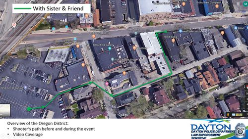 Dayton Police released this map showing the gunman walking to the bar with his sister.