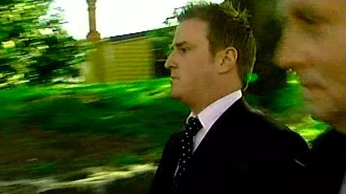 Then-Channel Seven reporter Dylan Howard after being questioned by police in 2007. (Channel Seven)