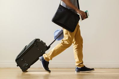 Man at airport travelling for work