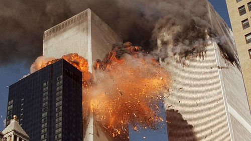 The moment the second plane struck the Twin Towers on September 11, 2001. (AAP)
