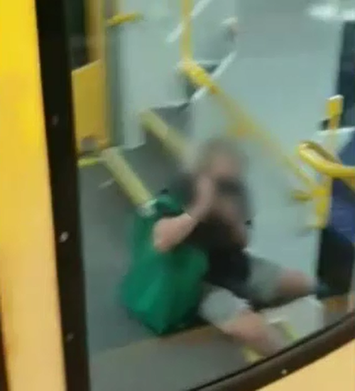 The teen's friends on board covered their faces when they realised they were being filmed.