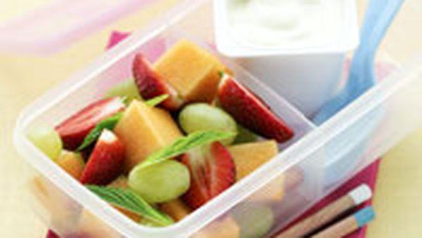 Minted fruit salad and yogurt