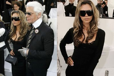 A black get-up and a pair of oversized sunnies does not a designer outfit make. <br/><br/>We're surprised Chanel's Karl Lagerfeld didn't toss her out of the catwalk crowd then and there. <br/>