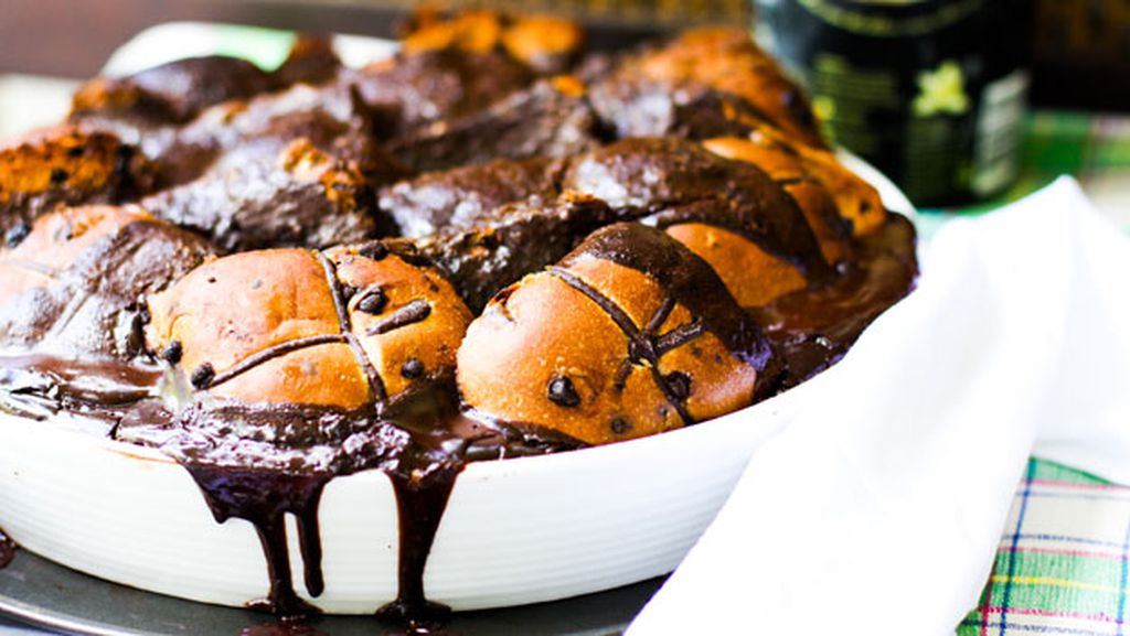 Image result for Dark chocolate hot cross bun bread and butter pudding