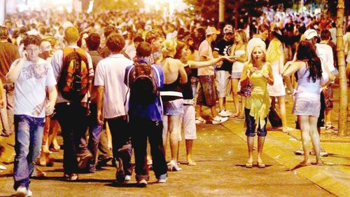 Revellers on the street at Schoolies this weekend.
