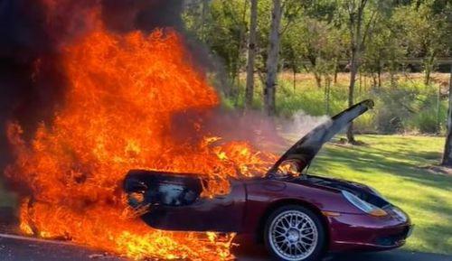 Porsche car fire