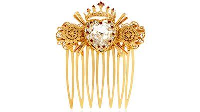 """<a href=""""http://www.net-a-porter.com/au/en/product/541354"""" target=""""_blank"""">Swarovski crystal-embellished gold-tone hair slide, $1,334.02, Dolce & Gabbana</a>"""