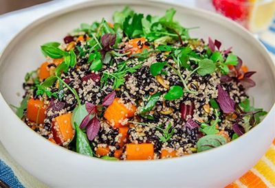 Black rice salad with heirloom carrots and butternut pumpkin