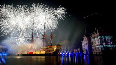 Fireworks above the Scheepvaart Museum, in Amsterdam, The Netherlands. (AAP)