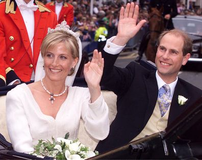 Prince Edward and Sophie Rhys-Jones wave to the crowd following their wedding in St George's Chapel, Windsor Castle Saturday, June 19, 1999.