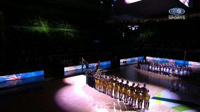Australian Diamonds in hilarious anthem fail for Quad Series match against New Zealand Silver Ferns