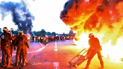 <p>French police have clashed with rioters over a controversial labour law change that would make it easier for bosses to hire and fire workers. </p> <p> The country's government has pushed the controversial law through parliament, prompting a union backlash with protesters blocking oil refineries and causing a nationwide fuel shortage. </p> <p>These photos were taken at Douchy-les-Mines as police attempted to dismantle a blockade at the entrance to a refinery near the Belgian border. </p> <p> (All photos AFP)</p>