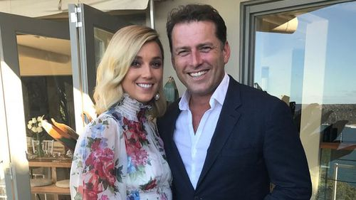 Jasmine Yarbrough and Karl Stefanovic during their commitment ceremony. (Supplied)