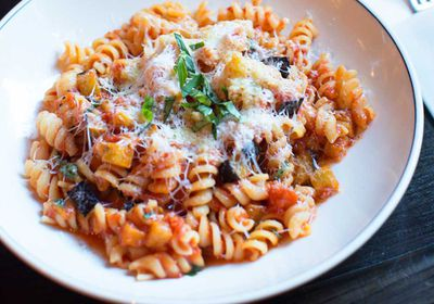 """<p>Recipe: <a href=""""http://kitchen.nine.com.au/2017/07/04/11/46/fusilli-alla-norma-with-eggplant-and-ricotta-salata"""" target=""""_top"""">Fusilli alla norma with eggplant and ricotta salata</a></p> <p>More: <a href=""""http://kitchen.nine.com.au/2016/06/06/21/50/load-up-on-these-perfect-pasta-dishes"""" target=""""_top"""">pasta recipes</a></p>"""