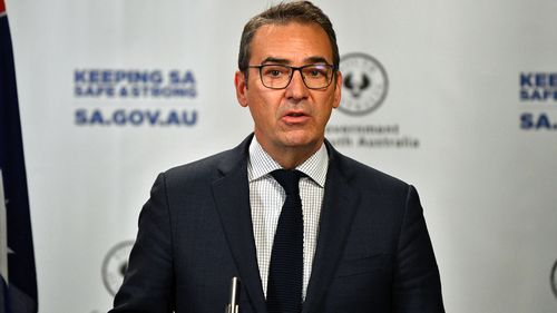 South Australian Premier Steven Marshall speaks to the media in Adelaide, Friday, April 17, 2020