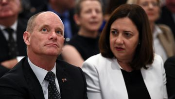 Queensland Premier Campbell Newman with Opposition Leader Annastacia Palaszczuk. (AAP)
