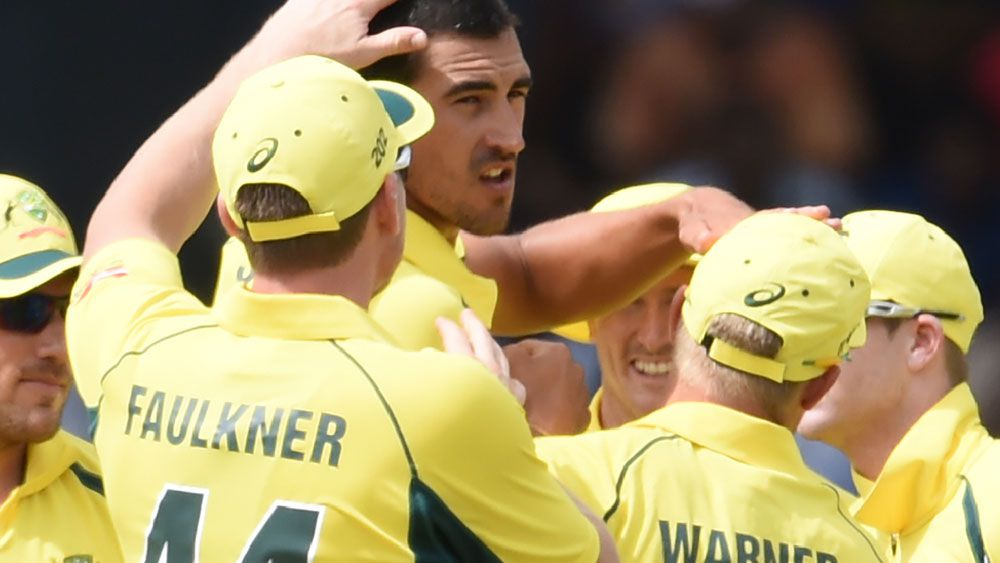 Mitchell Starc brought up 100 dismissals in ODI cricket in the win over Sri Lanka. (AAP)