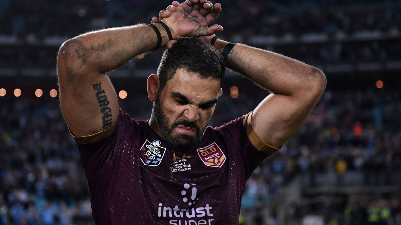 Greg Inglis reacts to Queensland's Origin loss.
