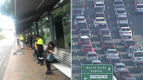 Traffic chaos has struck Sydney roads as some hopeful travellers wait at bus stops. (9NEWS)