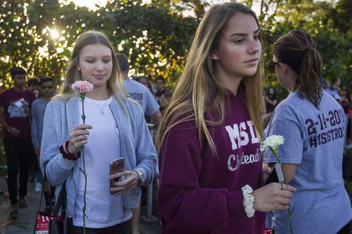 The students have slowly made their way back to class a fortnight after the deadly shooting killed 17 people. (AAP)