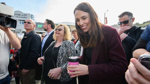 Jacinda Ardern on the campaign hustings in Lyttelton.