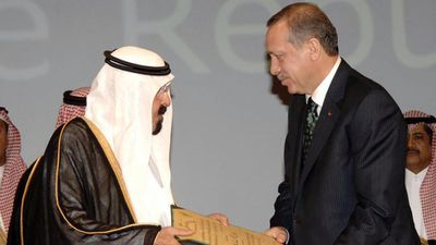 Saudi King Abdullah bin Abdulaziz with Turkish Prime Minister Recep Tayyip Erdogan in March 2010. (AAP)