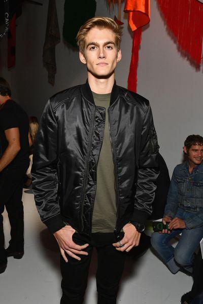 Presley Gerberfront row at Calvin Klein, New York Fashion Week, September 2017.