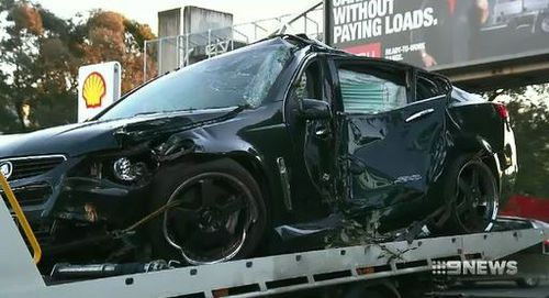 The vehicle mounted the curb instantly killing the victim. Image: 9News