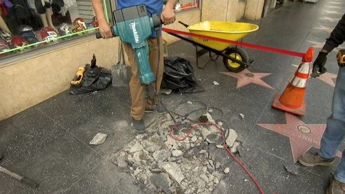 Steve Irwin's Hollywood Walk of Fame star is almost ready for its unveiling ceremony next week. Picture: 9NEWS.