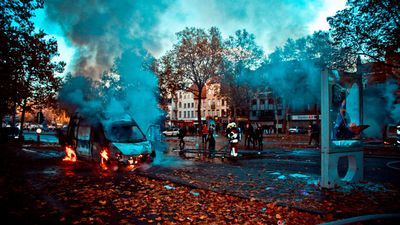 The smouldering wreckage of a burnt out van. (AAP)