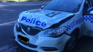 A police car was damaged when a stolen car allegedly reversed into it at high speed on the NSW Central Coast.