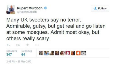 "<p>Previously, Murdoch had encouraged his Twitter followers to ""go listen at some mosques"", before revealing that while he could admit that most mosques were okay, others really frightened him.</p>"