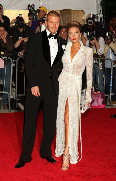 David and Victoria Beckham in Giorgio Armani at Superheroes: Fashion and Fantasy 2008 Met Gala