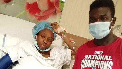 Nigerian couple Suliyat Abdulkareem and Tijani Abdulkareem pictured at the Latifah Women and Children's Hospital in Dubai. Their quadruplet babies were born on July 1.