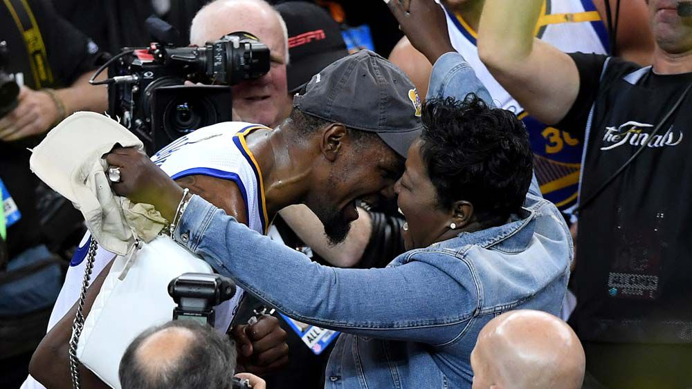 Kevin Durant's mother shares moment with her son on live TV after Golden State's NBA Finals victory