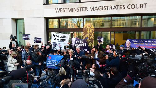 Kristinn Hrafnsson, Editor-in-chief of WikiLeaks and barrister Jennifer Robinson speak to the media outside Westminster Magistrates' Court in London.