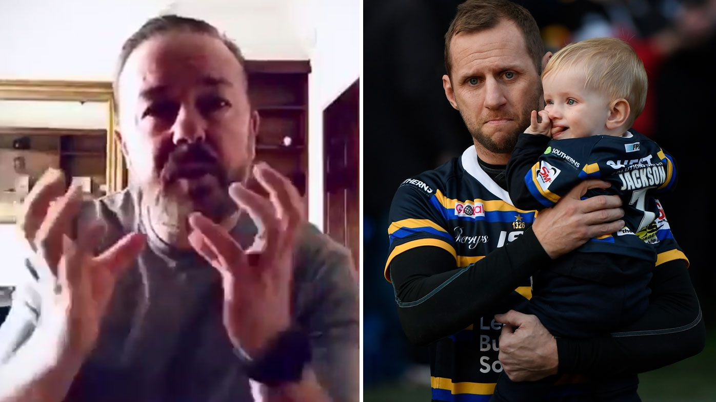 Ricky Gervais' cheeky message of support for British rugby league great Rob Burrow